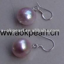 Silver 12-14mm big pearl jewelry earring