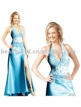 2015New style sexy halter one side open evening dress prom dress eur119