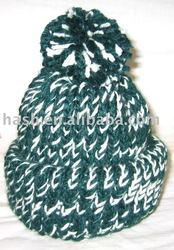 New Handmade Knitted Green & White Heavy Beanie,Ski Hat (SDC11172)
