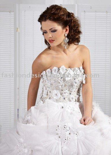 A016 Flower lace appliques rhinestone Lebanon wedding gown arabic wedding
