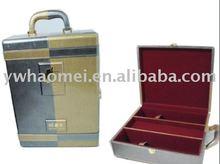 luxury double PU wine box , vintage leather wine case, wine packing