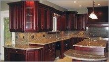Madura Gold prefabricated gold granite kitchen countertops with bullnose edges