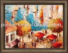 oil painting landscape of harbour
