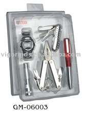 (GM-06003) 5 Piece Multi Tool Set with Watch in PVC Box Pack
