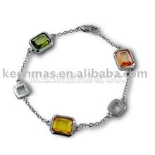 silver925 bracelet with colorful semi-precious stones in rhodium plating, handwork, wholesale price