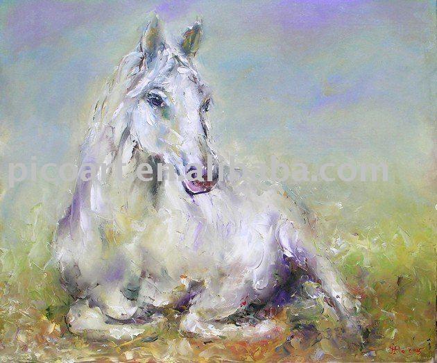 Pintado a mano pintura al óleo animal ( caballo )-Pintura y ...