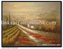 Impressionist Vineyard Landscape Oil Painting