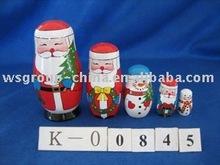 wooden santa 5pcs/set gift box