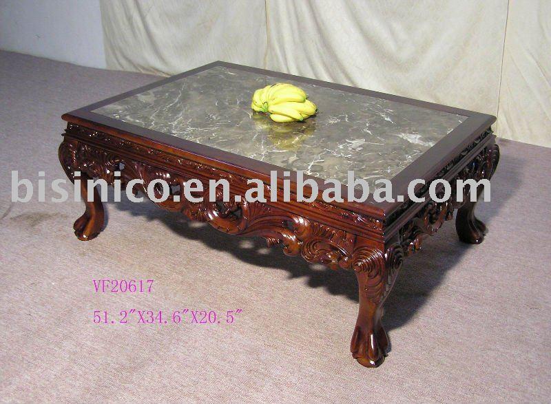 Style antique table à café, table basse en bois massif