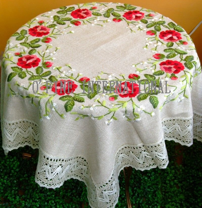 Embroidered Table Clothes Free Embroidery Patterns : GorgeousCountryFlowersHANDEMBROIDEREDEmbroideredTableCloth from mbroider.net size 800 x 823 jpeg 196kB