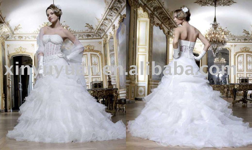 sexy lace strapless wedding dress tiered ruffles white wedding dress