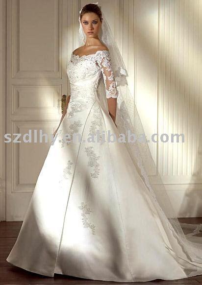 hotsale 2010 vintage long lace sleeves wedding dress SYF539