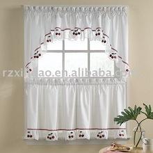 embroidered cherry kitchen curtain