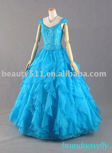 2010 ruffled organza blue Japanese wedding dress bridal dresses bridal gown