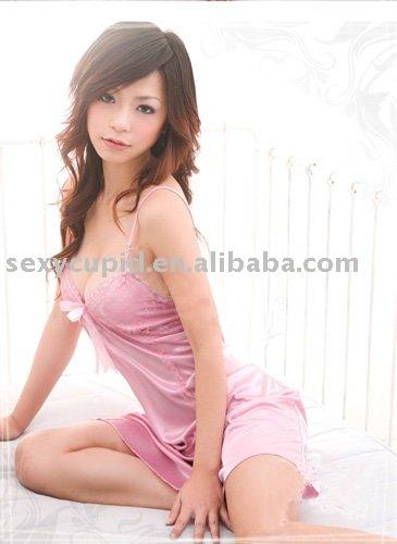 hot sell sex satin pajamas lingerie(Hong Kong)