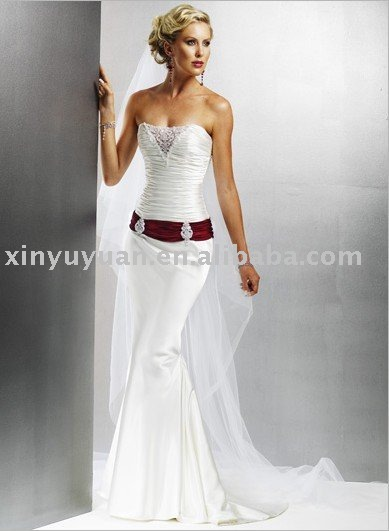 2011 best selling hot sale modern wedding dress MA687 popular fish train