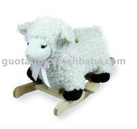 Plush baby rocking sheep with wooden base