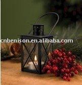 cross glass hurricane lantern with pillar candle or tea light
