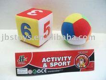 2010 New plush animal + sport ball/galloping dominoes,sport set/game/toy (EN71/ASTM)
