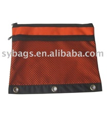 420D polyester binder pouch with mesh pocket