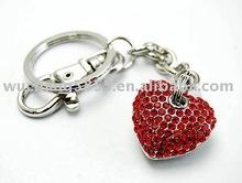 rhinestone red heart keychain fashion keyring