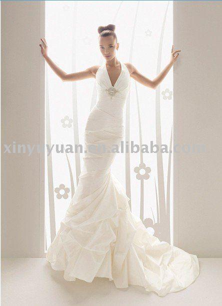 new designer backless halter strap mermaid style wedding dress AIW105