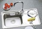 Stainless Steel single kitchen sink with drain board industrial basin topmount sink