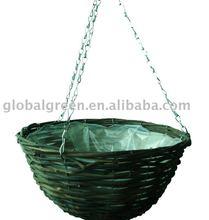 Wire rattan hanging basket