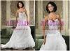 ek23 White Crystal Beaded Corset Fish bone Ruffled Organza Wedding Dress