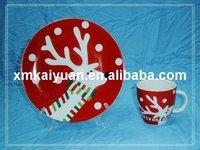 "Christmas porcelain 7.5"" plate/7oz mug"
