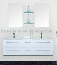 large wooden bathroom vanity -two porcelainous sink