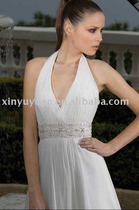 Vestidos De Baño Estilo Halter: 2011 corto de gasa estilo correa de cabestro vestidos de novia mfw-016