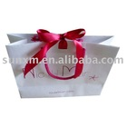 paper gift bag with tied satin ribbon