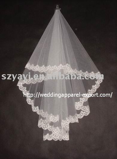 Elegant lace edged white ivory champagne bridal wedding veil V103