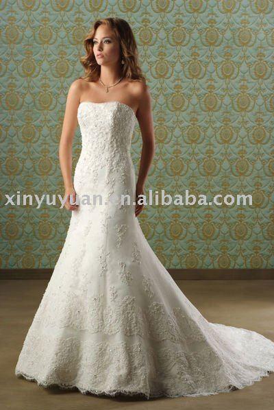 mermaid style elegant lace strapless wedding dresses BOW043