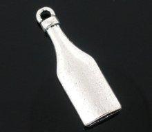 Pendant, bottle, zinc metal alloy, silver tone, 30x9mm. Sold per packet of 20