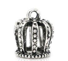 Pendants, 3D, crown, zinc metal alloy, silver tone, 21x18mm. Sold per packet of 10