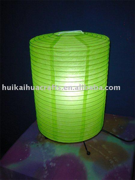 Vert couleur riz papier lanterne lampe de table pour for Lampe en papier de riz
