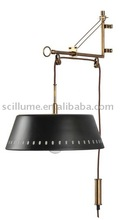 innovative height ajustable brass wall sconce wall light with cord and brass shade