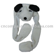 fool dog style of hat in long scarf and glove paw