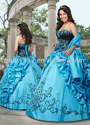 2010 NEW blue princess Mexico style prom dress ql2036