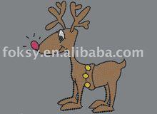 Red nose deer rhinestone iron on transfer