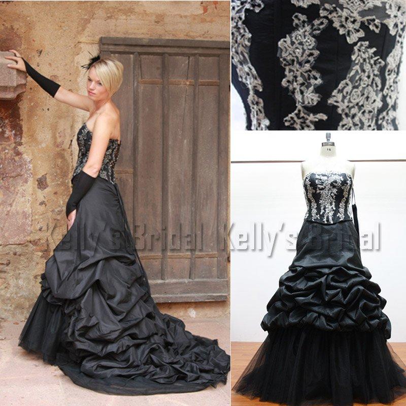 2010 2011 New Style Strapless Black Wedding Dress IT0059