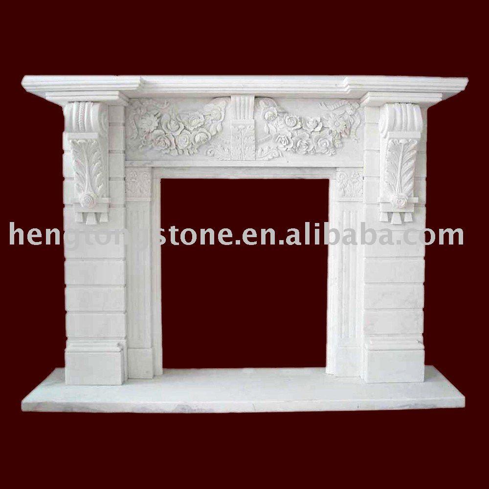 Italien Baroque blanc cheminée en marbre