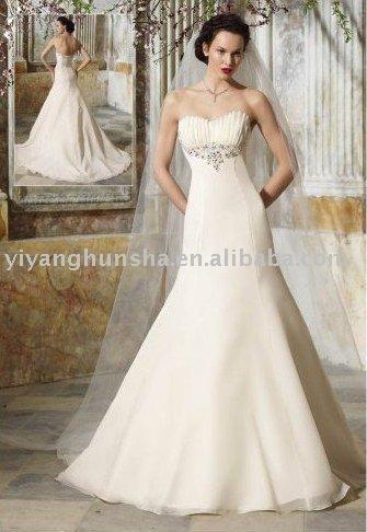 Western style exquisite strapless taffeta trumpet Wedding Dress