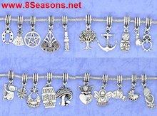 Mixed Silver Tone Charm Dangle Beads. Fit Charm Bracelet 30x9mm-40x15mm