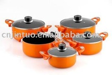 Aluminum non-stick stock pot with glass lid