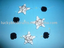 LYP0944-120B---120cm star and ball garland,black/white