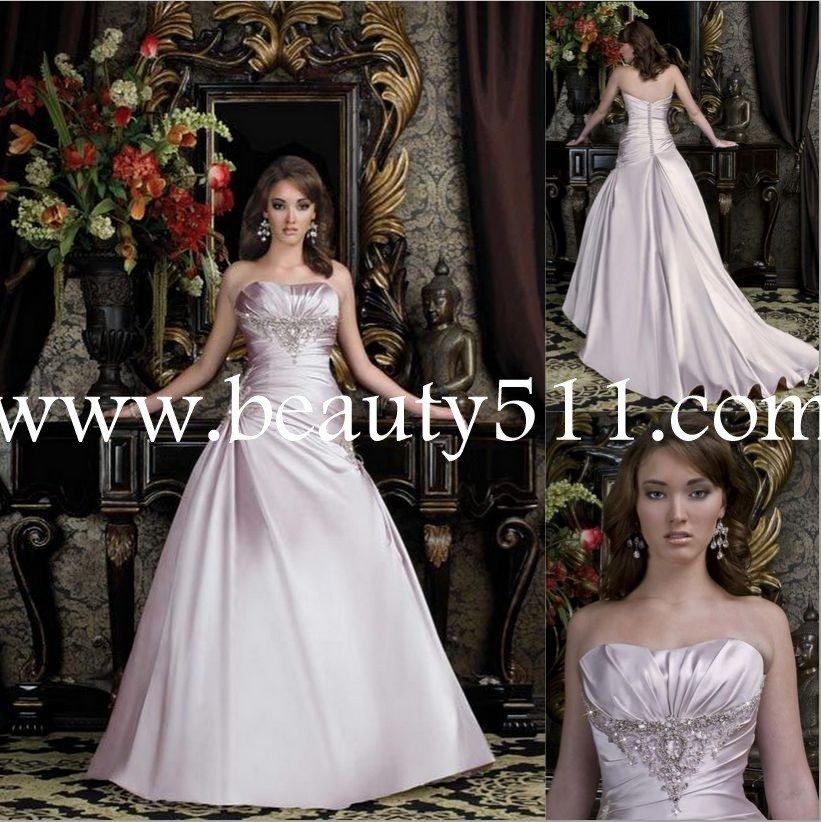 light pink matte satin wedding dress bridal gown WDAH0495