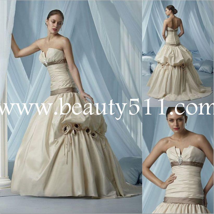 puffy skirt satin wedding dress bridal gown WDAH0499
